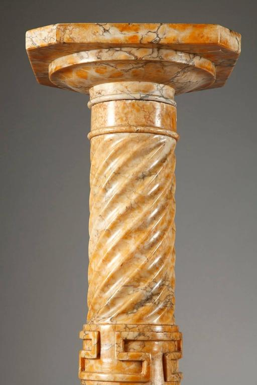 Two Spiraling Sienna Marble Columns For Sale 3