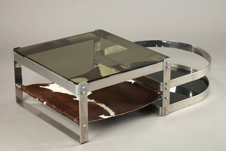 Stainless Steel Coffee Table In The Style Of Willy Rizzo In The 1970s For Sale At 1stdibs