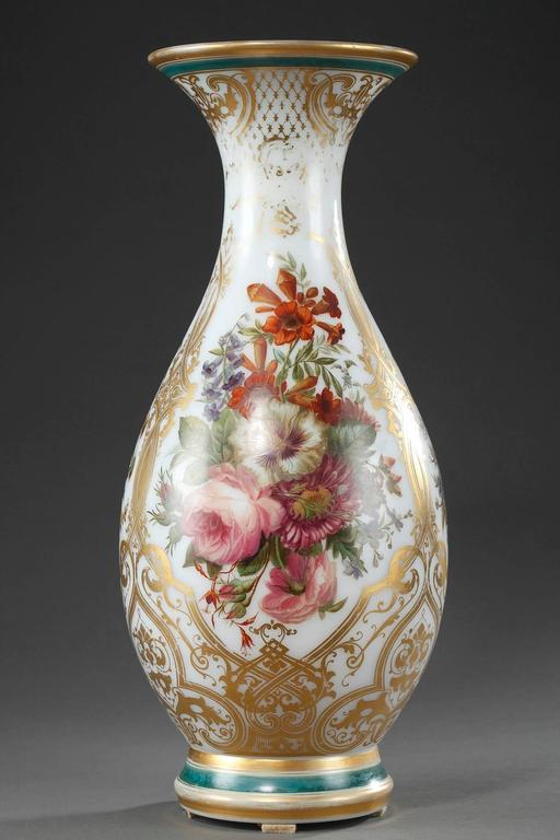 Louis Philippe Louis-Philippe Enameled Opaline Crystal Vase, 19th Century For Sale