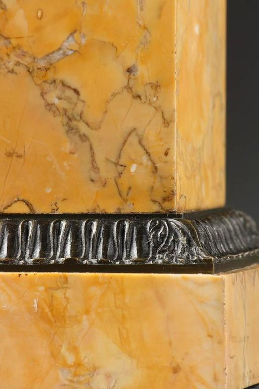 Pair of Brown Patina Bronze Louis-Philippe Cassolettes on Sienna Marble Base  For Sale 2