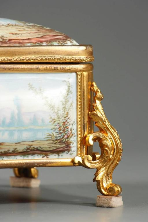 Bronze 19th Century French Limoges Enamel Box For Sale