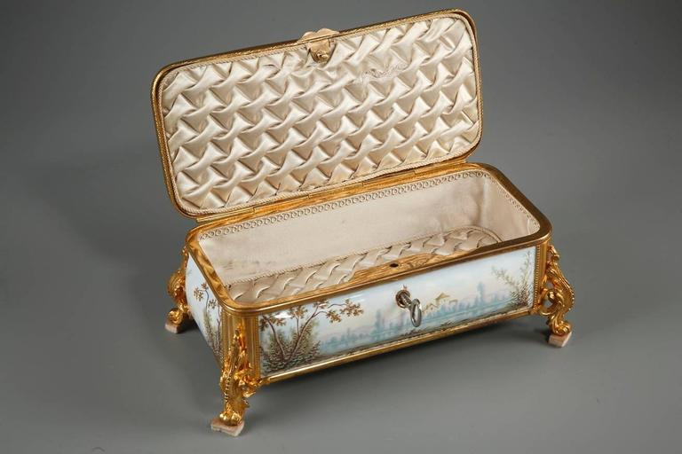 Gilt 19th Century French Limoges Enamel Box For Sale