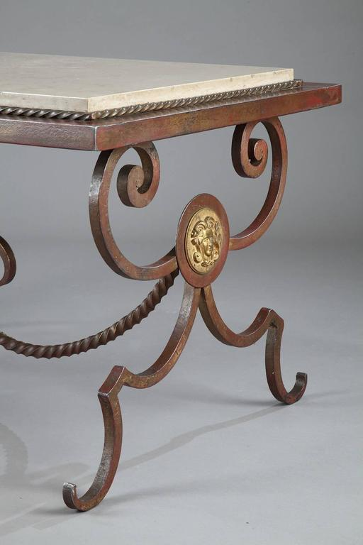 Wrought iron and marble coffee table in the style of for Table demi lune fer forge