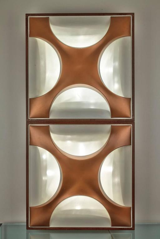 White Sheet Metal : Four luminous light panels in white sheet metal and copper