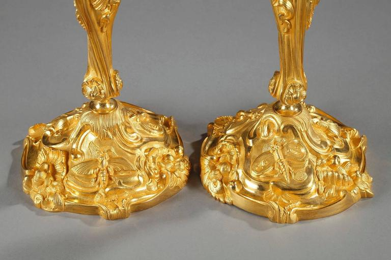 19th Century Pair of Gilt Bronze Candlesticks Decorated with Foliage and Animals For Sale