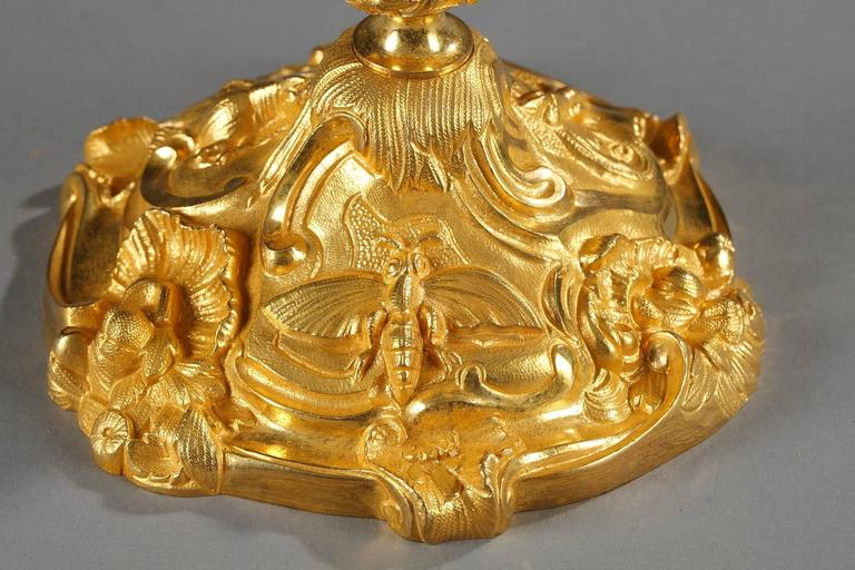 Pair of Gilt Bronze Candlesticks Decorated with Foliage and Animals For Sale 1