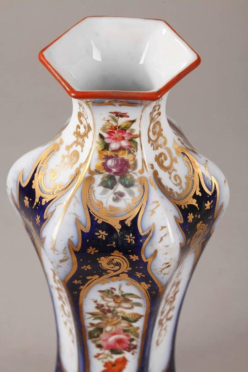 French Pair of Napoleon III Porcelain Vases For Sale