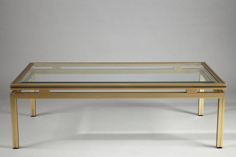 Pierre Vandel Rectangular Coffee Table In Brass Plated Aluminium With Glass Top At 1stdibs