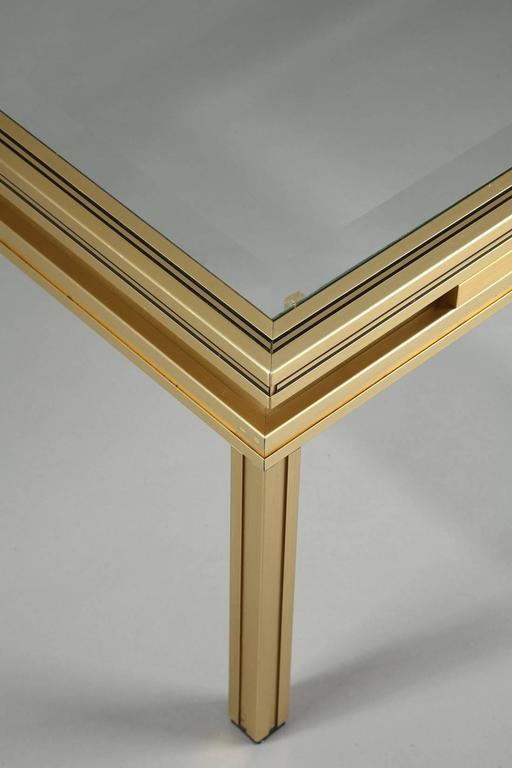 Rectangular Glass Coffee Table: Pierre Vandel Rectangular Coffee Table In Brass-Plated