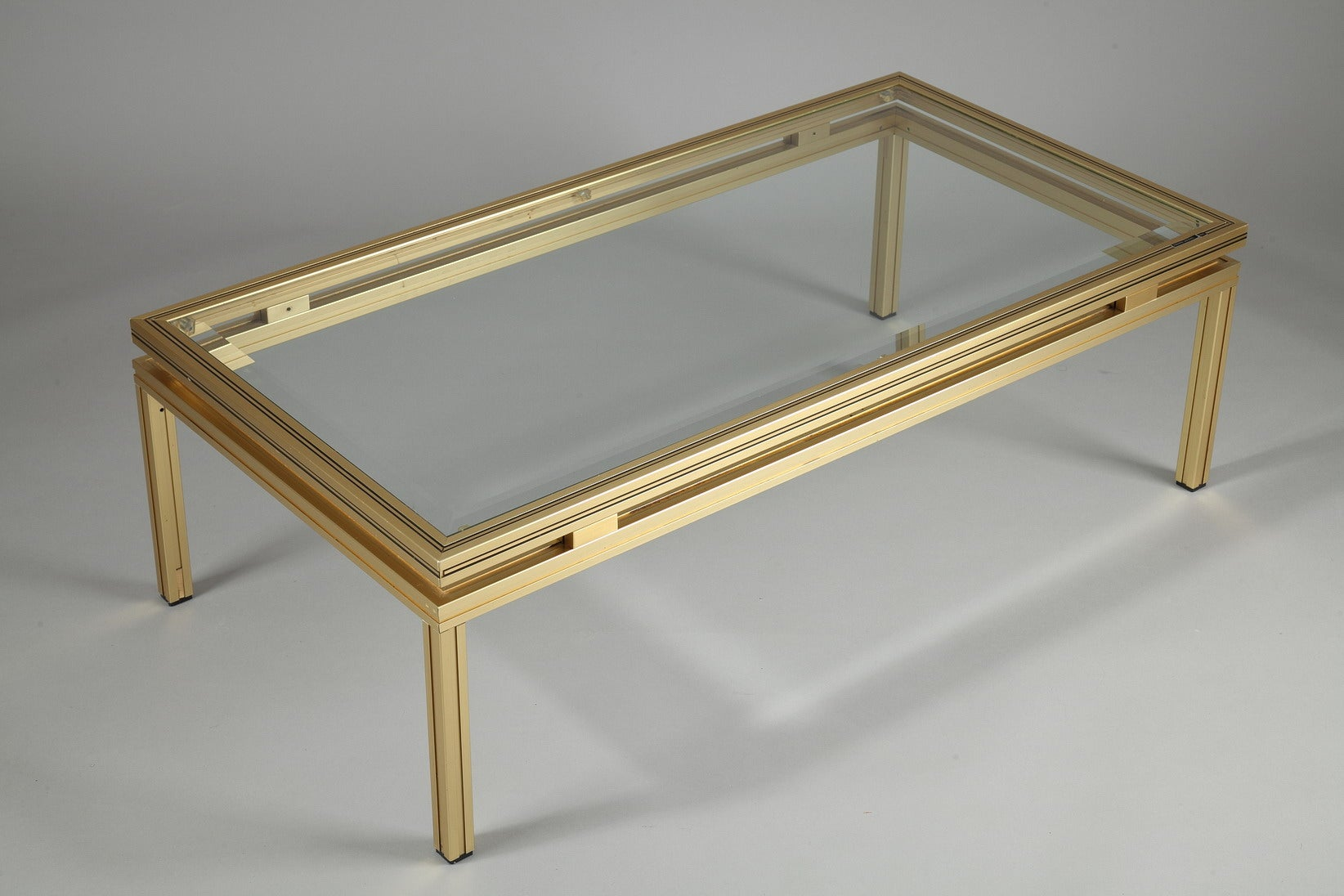 Pierre Vandel Rectangular Coffee Table In Brass Plated Aluminium With Glass Top