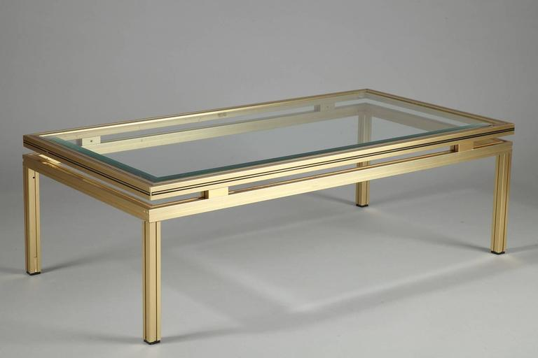 Pierre Vandel Rectangular Coffee Table In Brass Plated Aluminium With Glass Top For Sale At 1stdibs