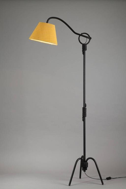 black lacquered iron tripod lampstand after a model by jean roy re for sale at 1stdibs. Black Bedroom Furniture Sets. Home Design Ideas