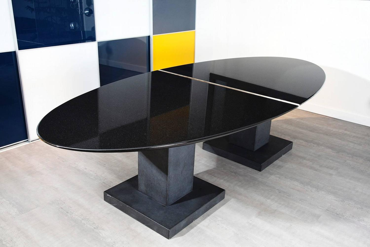 imposing black granite dining room table by michael prentice for sale