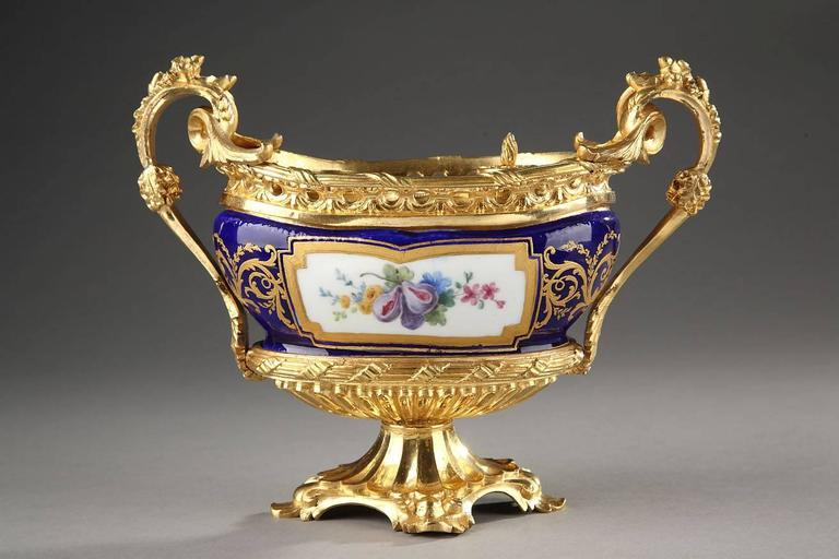 Unusual oval-shaped inkstand in 18th century Sevres soft-paste porcelain. The central, white medallion is decorated with multicolored leaves, flowers, and grapes and this ensemble is surrounded by a royal blue background that is embellished with