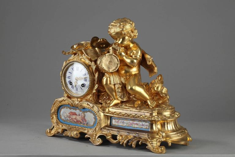 Napoleon Iii Gilt Bronze And Porcelain Mantel Clock At 1stdibs
