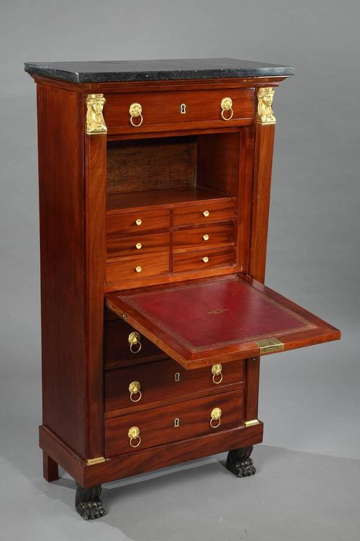 Early 19th Century Mahogany Secretary Desk Empire Period For Sale 1