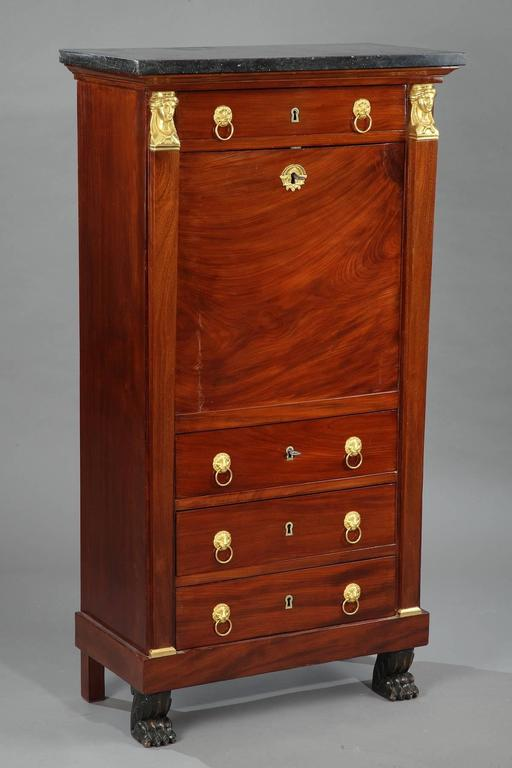 Gilt Early 19th Century Mahogany Secretary Desk Empire Period For Sale