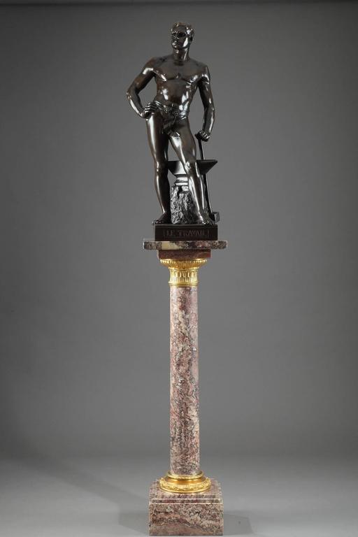 19th Century Napoleon III Brocatelle Marble Column For Sale 4