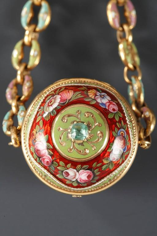 18th Century Gold and Enamel Vinaigrette In Excellent Condition For Sale In Paris, FR