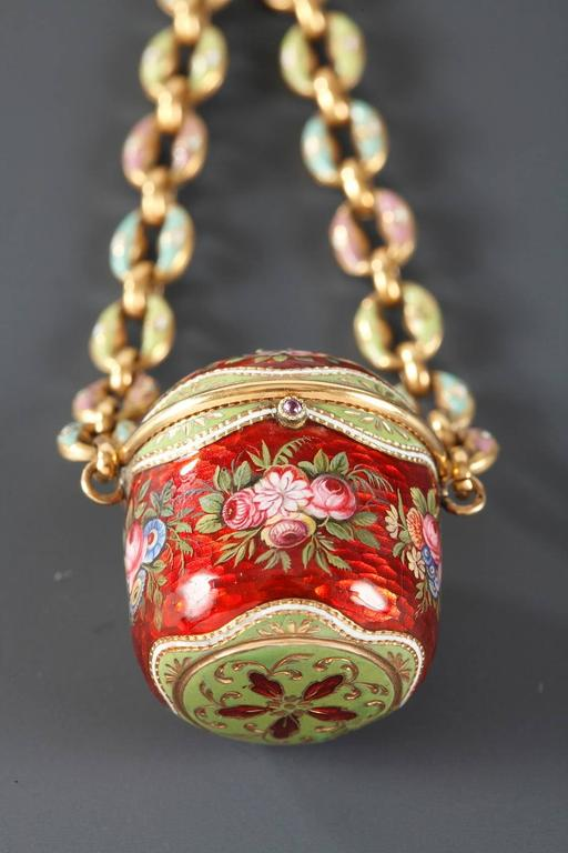 Finnish 18th Century Gold and Enamel Vinaigrette For Sale