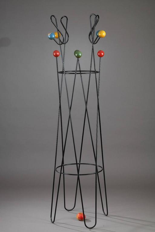 coat rack treble clef in metal and wood by roger feraud at 1stdibs. Black Bedroom Furniture Sets. Home Design Ideas