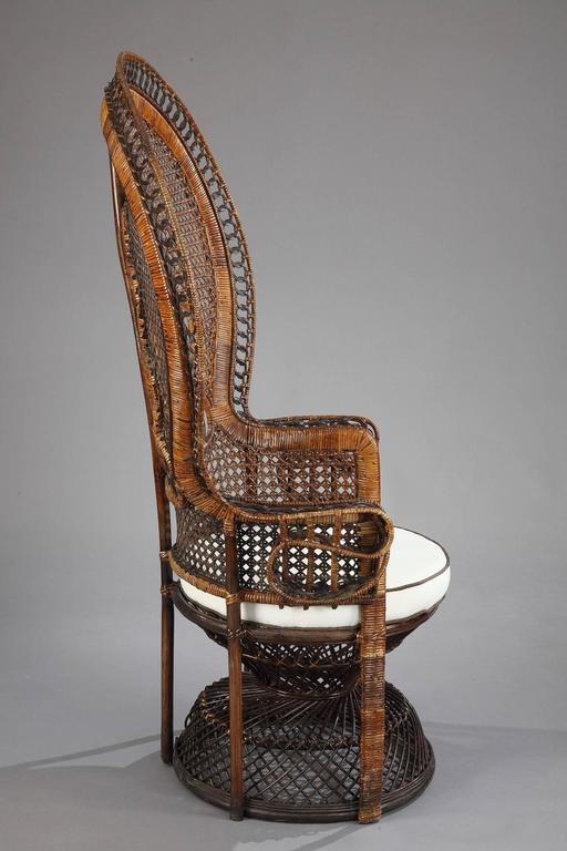 20th century rattan armchair with emmanuelle backrest at 1stdibs. Black Bedroom Furniture Sets. Home Design Ideas