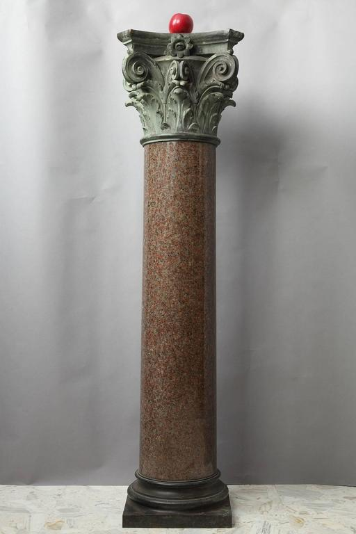French Important Red Granite and Bronze Column in Neoclassical Style For Sale