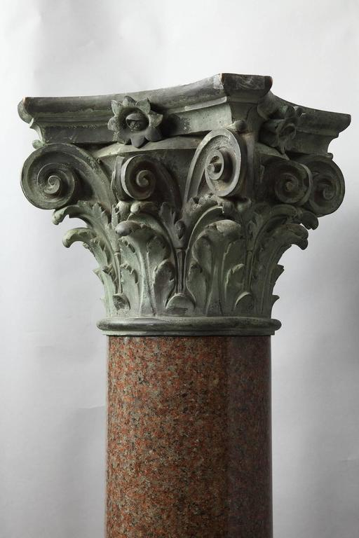 Important Red Granite and Bronze Column in Neoclassical Style In Excellent Condition For Sale In Paris, FR