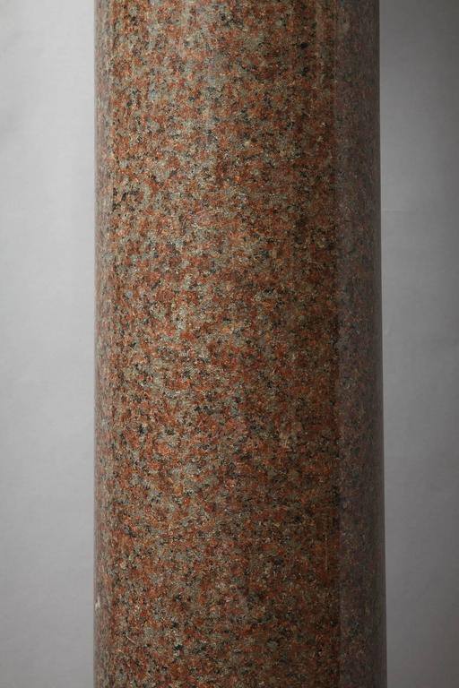 Important Red Granite and Bronze Column in Neoclassical Style For Sale 2