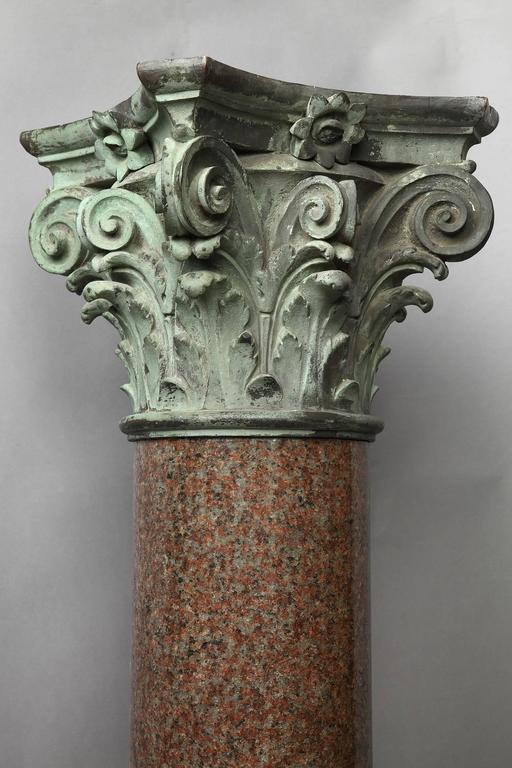 Important Red Granite and Bronze Column in Neoclassical Style For Sale 5