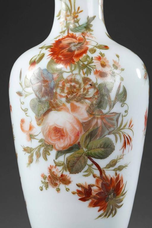 Louis Philippe Louis-Philippe Enameled Opaline Vases For Sale