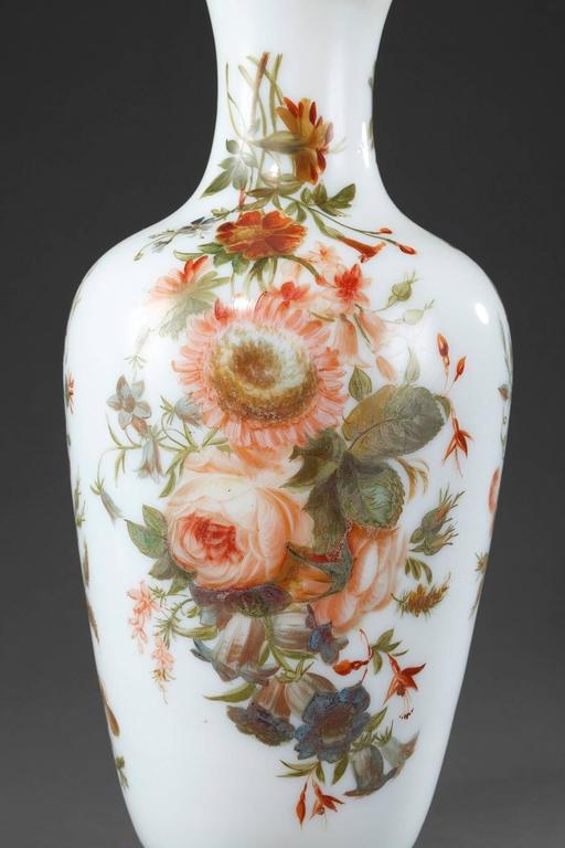 Painted Louis-Philippe Enameled Opaline Vases For Sale