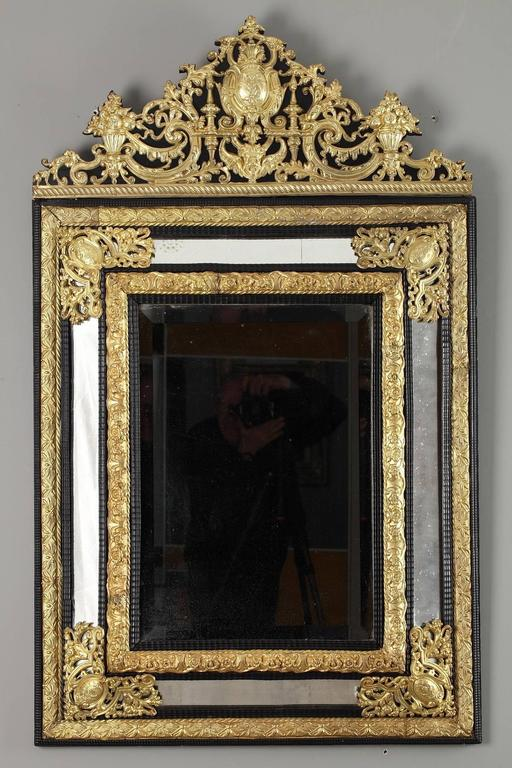 19th century large mirror in wood and repouss brass in for Miroir louis xiv