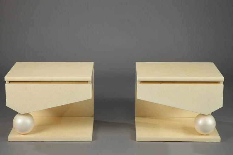 Lacquered Eric Maville & Jean-Claude Mahey Nightstands For Sale