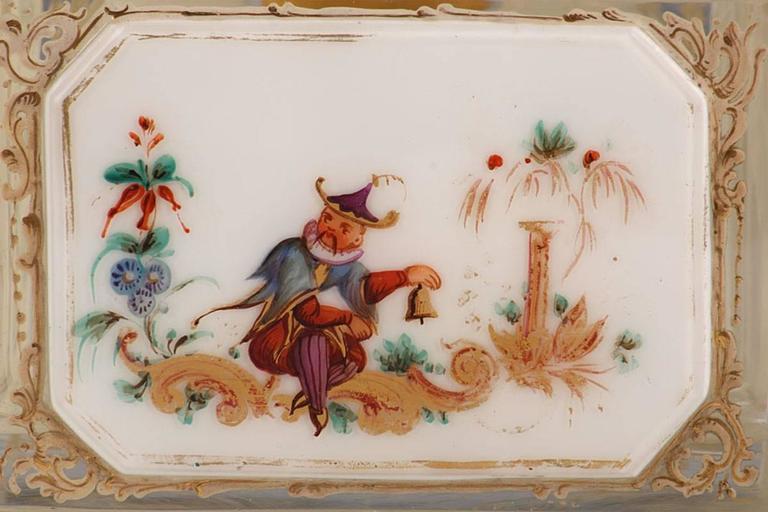 Czech 19th Century Bohemian Jewelry Box in Overlay, Biedermeier Period For Sale