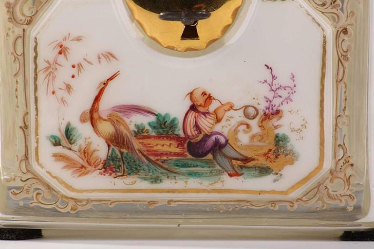 Gilt 19th Century Bohemian Jewelry Box in Overlay, Biedermeier Period For Sale