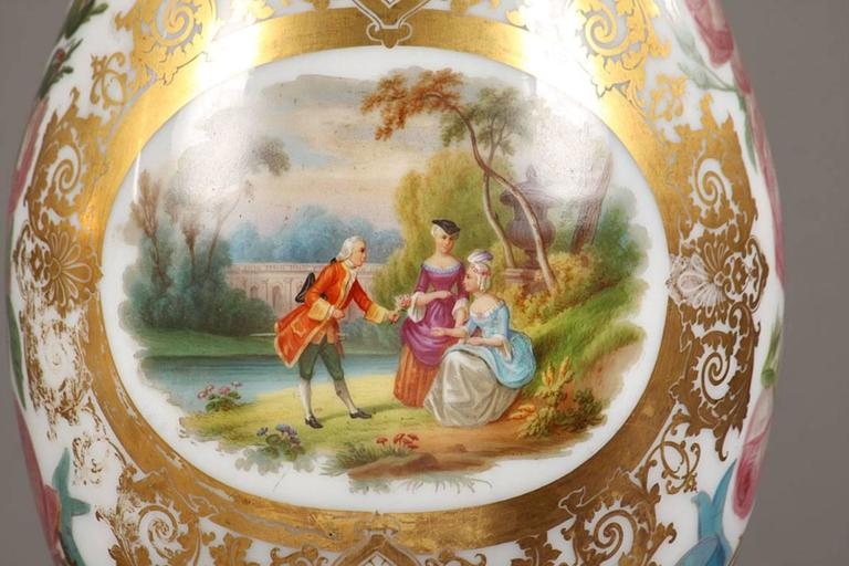 Painted Large Pair of Opaline Vases, Attributed to Jean François Robert For Sale