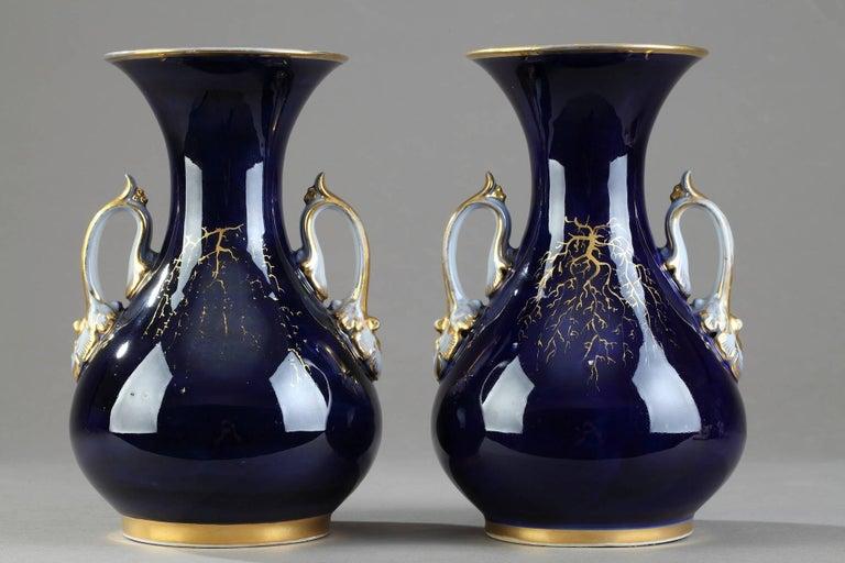 Mid-19th Century Pair of Valentine Porcelain Vases For Sale 1