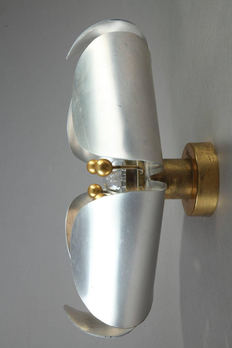Mid Century Chrome Wall Sconces : Mid-20th Century Chrome-Plated and Brass Pistil-Shaped Wall Light For Sale at 1stdibs