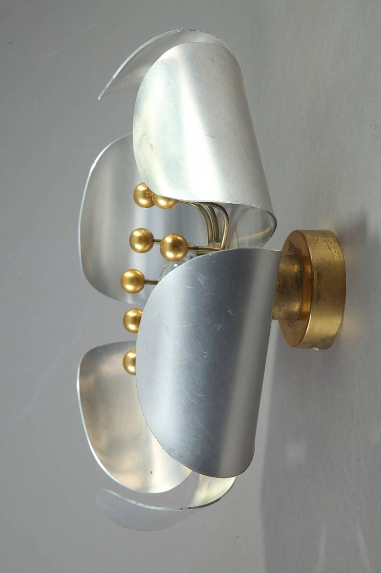 20th century chrome plated and brass pistil shaped wall for Applique murale exterieure zinc