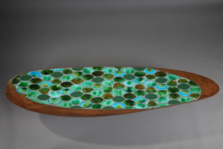 1970s Coffee Table In Teak And Ceramic Tiles At 1stdibs