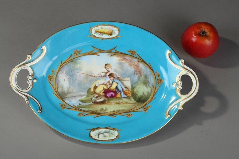 19th Century Blue Porcelain Cup in Sevres Style For Sale 3