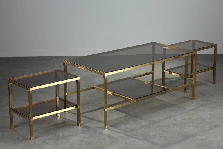 Gilt 1970s Set of Three Nesting Tables Attributed to Maison Jansen For Sale