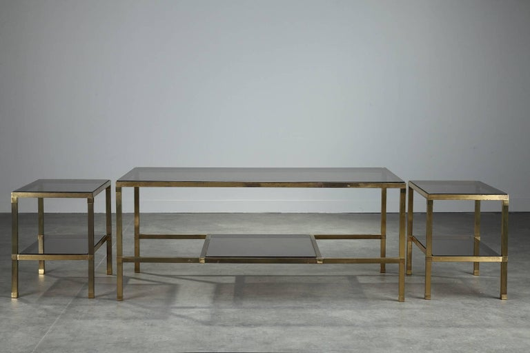 20th Century 1970s Set of Three Nesting Tables Attributed to Maison Jansen For Sale
