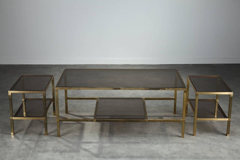 Smoked Glass 1970s Set of Three Nesting Tables Attributed to Maison Jansen For Sale