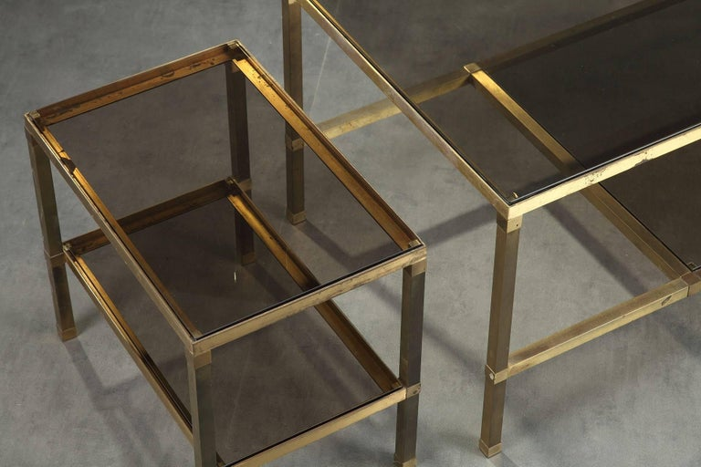 Mid-Century Modern 1970s Set of Three Nesting Tables Attributed to Maison Jansen For Sale