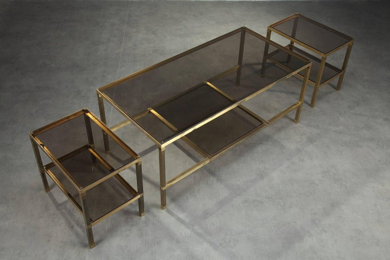 French 1970s Set of Three Nesting Tables Attributed to Maison Jansen For Sale