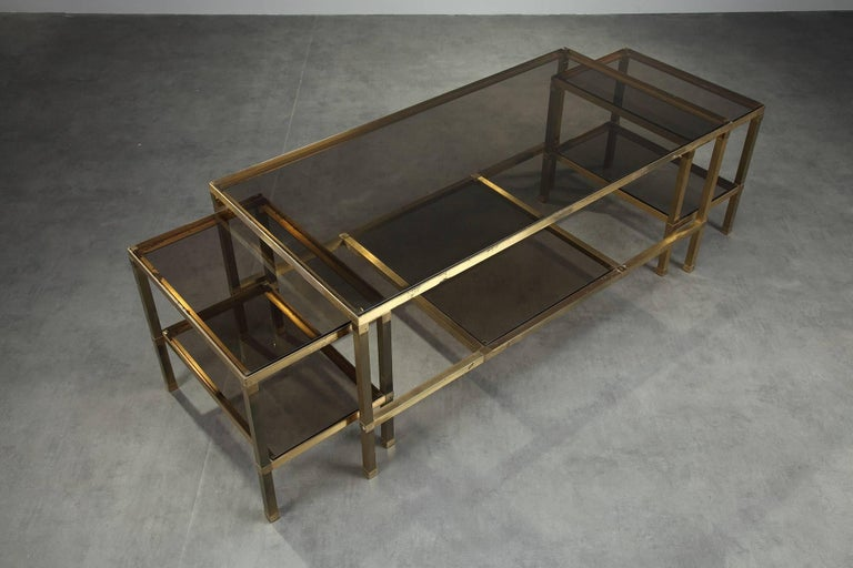 1970s Set of Three Nesting Tables Attributed to Maison Jansen In Good Condition For Sale In Paris, FR
