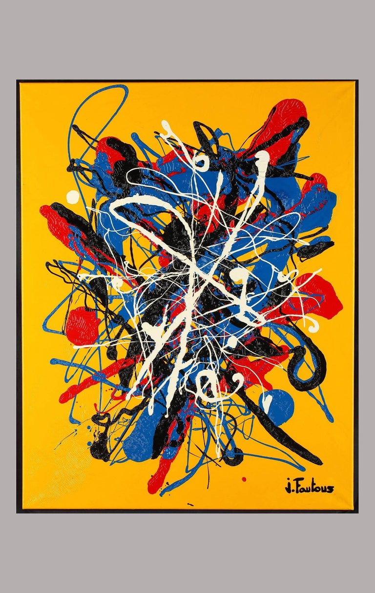 Abstract acrylic painting by the French artist Joël Fautous (b. 1978 in Saint-Jean de Luz). Signed below on the right: J. Fautous. Very good condition.