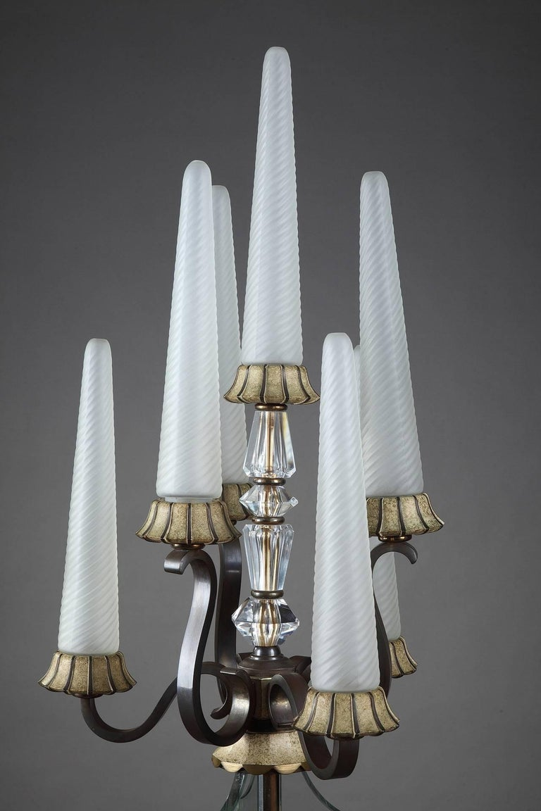 Art Deco Bronze And Sevres Crystal Lampstand For Sale At